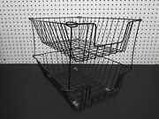 Lot Of 2 - Black Deep Industrial Metal Wire In-out Letter Size Desk Tray Baskets