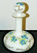 Antique Milk Glass Hand Blown Hand Painted Cologne Perfume Or Decanter Bottle