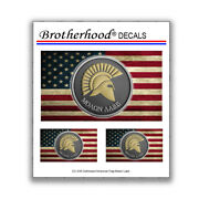 Distressed American Flag Molon Labe Greek Spartan 3 Pc. Decal Collection