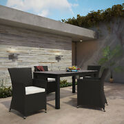 Modway Junction Wicker Rattan Outdoor Patio 5-piece Dining Set In Brown White