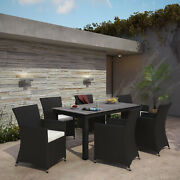 Modway Junction Wicker Rattan Outdoor Patio 7-piece Dining Set In Brown White