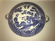 Rare Japan Blue Willow Covered Tureen Casserole Vegetable 2 Handles 1940's 1