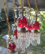 5lte Vintage Cranberry Ruby Brass Hanging Swag Lamp Chandelier Hollywood Old