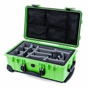 Lime Green And Black Pelican 1510 Case With Grey Dividers And Mesh Lid Organizer.