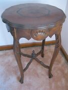 Victorian Antique Side Table Carved Legs, Inlaid Top, Carved Apron, Accent