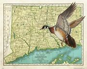 Vintage Wood Duck Hunting Connecticut State Map Art Print Calls Decoys Du Map36