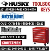 Better Built Husky Kennedy Tool Box Replacement Keys, Keys Cut To Your Lock Code