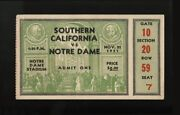 1931 Usc Defeats Notre Dame Full Football Ticket Stub 2nd National Championship
