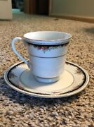 Lynns Silverie Fine China 1991 Cup And Saucer Red Roses And Black And Gold Trim