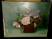 Late 19th Century Floral Oil Painting 23.5 X 19.5 Langsford Art Home Decor