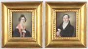 Franz Hauser Portraits Of Husband And Wife Two Miniatures 1830/35