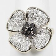 Four Leaf Clover Pave Diamond And Sapphire 14k White Gold Ladies Ring