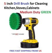 5 Inch Drill Brush For Cleaning Kitchenstovescabinets Medium Duty Green