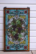 20 X 34 Large Handcrafted Stained Glass Window Panel Grape W/ Vine