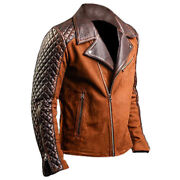 Menand039s Motorcycle Cafe Racer Biker Distressed Brown Suede Leather Jacket