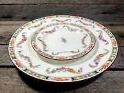 Antique Mintons Burley And Co Chicago China Dinner Plate And Saucer Set Lot Floral