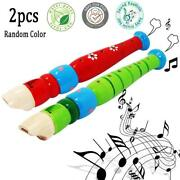 2 Pcs Small Wooden Recorders For Toddlers,colorful Piccolo Flute For Kids,learni