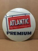 Vintage Atlantic Gas Pump Globe Lens Glass Top Sign Garage Wall Decor Oil Truck