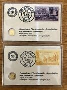 Katchy Kard1and2a.n.a.1975 24k Bitand039o Gold And 3c/ California Gold Centennial Stamp
