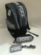 Victoria Secret Pink Campus Backpack Lanyard Cosmetic Case Gray Multi