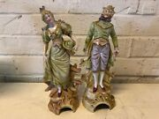 Vintage Bisque Victorian Style Pair Of Figurines Of Man And Woman