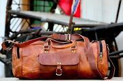 Men's Easy Vintage Lightweight Leather Cowhide Travel Luggage Duffle Gym Bags