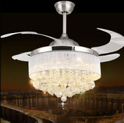 Led Crystal Fan Chandelier Living Room Ceiling Drawing Brush Cover Fixture Light