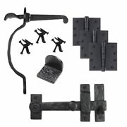Cast Iron Bean Gate Kit - Drop Bar, Thumb Latch, Hinges, And Gate Stop