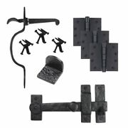 Cast Iron Heart Gate Kit - Drop Bar, Thumb Latch, Hinges, And Gate Stop