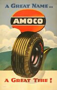 Original Vintage Poster Amoco A Great Name By Lucian Bernhard 50s Auto