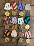 Russian Soviet Ussr Cccp Order Pin Badges Set Of 12 Campaign Medals Wwii