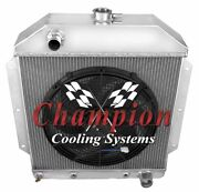 4 Row Racing Champion Radiator W/ 16 Fan For 1949 - 1953 Ford Cars Chevy Engine