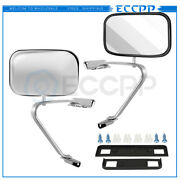 Chrome Steel For 1980-96 Ford Bronco Pickup Truck Pair View Manual Mirrors