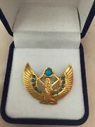 Rare Egyptian Authentic Stamped18k Solid Yellow Goldturquois Winged Isis Brooch