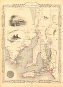 Part Of South Australia. Shows Mining Districts. Tallis And Rapkin 1851 Old Map