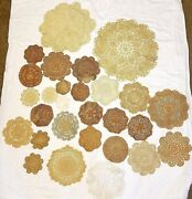 Lot Of 28 Hand Crocheted Pieces Antique Lace Doilies 4 To 14