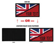 Morale Personalized Text 2x3.5 British Flag Patch W/hook Fastener Or Sew On.