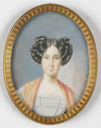 Emanuel Thomas Peter 1799-1873 Portrait Of A Young Lady Miniature 1836