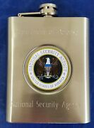 Nsa National Security Agency Dod Stainless Steel 6 Oz Flask Nsa Emblem 5x3.5