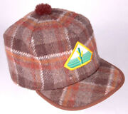 Vtg Seed Feed Winter Hat-brown Plaid-ear Flaps-agriculture Farm-l-quilted Cap
