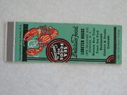 A53 Matchbook Cover New York Ny Lobster House Kenmore Delicious Food Sea Food