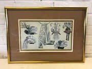 Antique 18th / 19th Cent. French Fashion Hand Colored Engraving Print Hats Scarf