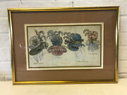 Antique 18th / 19th Century French Fashion Hand Colored Engraving Print Of Hats