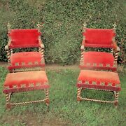 Antique Couple Throne Armchairs Footstools Barley Twist Double Headed Eagle Wow