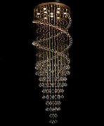 Crystal Chandelier Led Light Hang Ceiling Fixture Curtain Pendant Lamp Customize