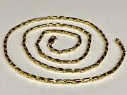14k Yellow Gold Cylinder Tube Link Menand039s Chain Necklace 26 38 Grams 3.5 Mm