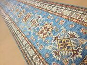 3andrsquo.3andrdquo X 20andrsquo.8andrdquo Light Blue Fine Oriental Rug Geometric Long Runner Hand Knotted