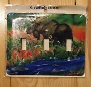 """""""a Switch In Art"""" Decorative 3 Switch Metal Switchplate Moose New"""