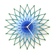 Peacock - Large Wooden Wall Clock, A Blue / Green Sunburst Clock By Ardeola