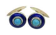 Rare Vintage Estate 18kt Solid Yellow Gold, Turquoise And Enamel Men's Cuff Links